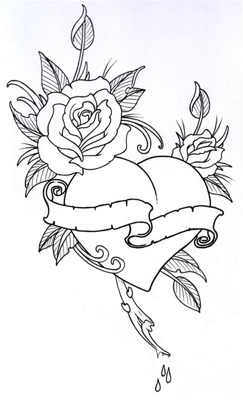 hot tattoo outlines roseheart outline 1 by vikingtattoo on deviantart