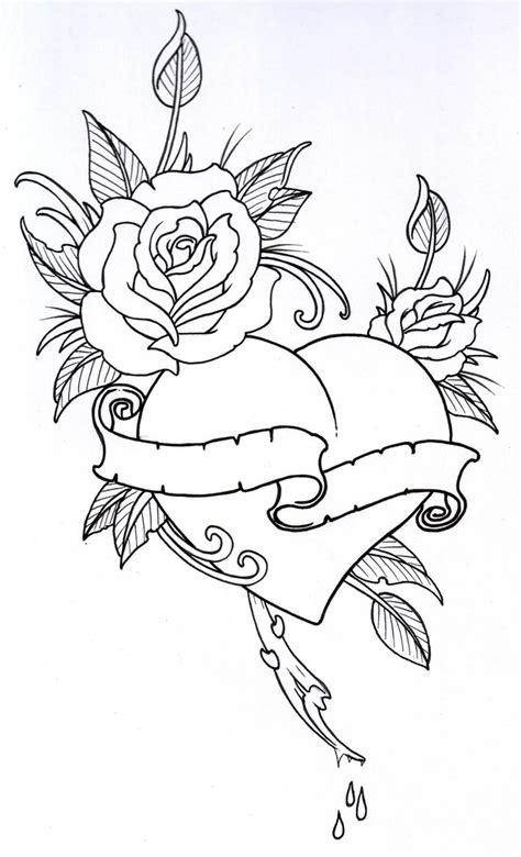 roseheart outline 1 by vikingtattoo on deviantart