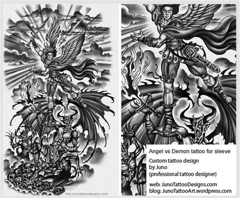 angel versus demon tattoo sleeve tattoo jpg 556 215 459