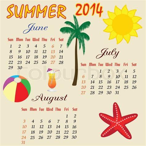 Summer Calendar Sommer Kalender 2014 Vektorgrafik Colourbox