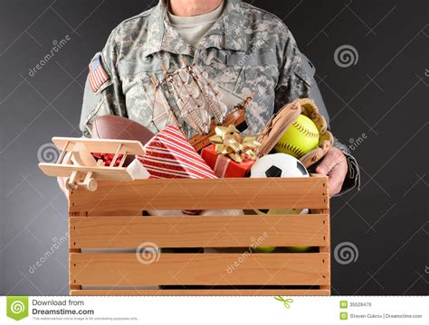 soldier holding toy drive box royalty  stock images