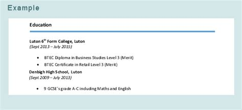 What Do You Put For Education On A Resume by How To Write A Cv Luton Borough Council