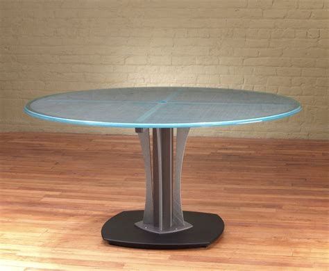 """60""""d Meeting table   Modern Round Glass Table   Stoneline"""