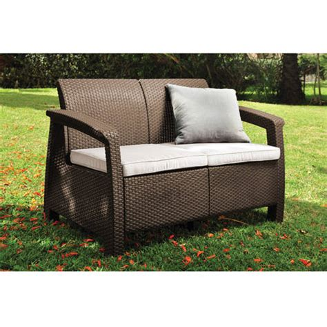 keter corfu patio loveseat brown walmart com