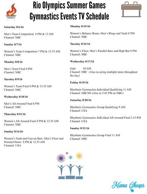 printable tv schedule rio olympics summer games gymnastics events tv schedule