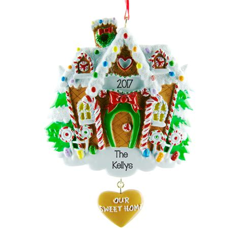 gingerbread house personalised hanging christmas