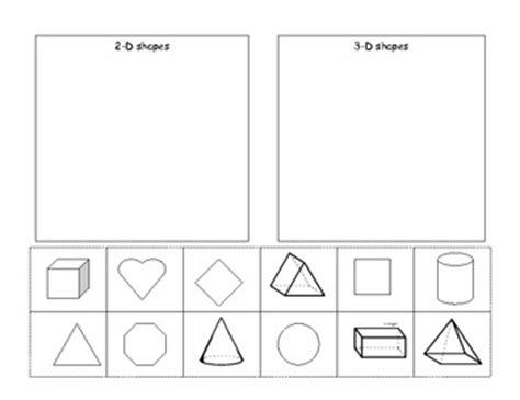 2d And 3d Shapes Worksheet by 2d And 3d Shapes Cut And Paste By Robinson Tpt