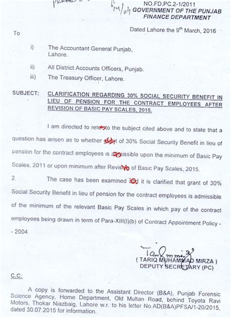 Promotion Notification Letter Govt Of Punjab Notification Social Security Benefits In Lieu Of Pension For Contract Employees Of Punjab Govt