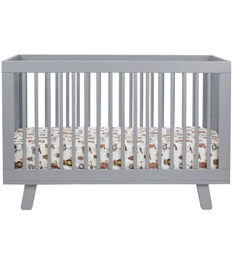babyletto hudson 3 in 1 convertible crib with toddler bed conversion kit in grey finish