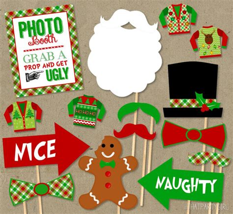 Printable Ugly Sweater Photo Booth Props | ugly sweater party photo booth props package diy instant