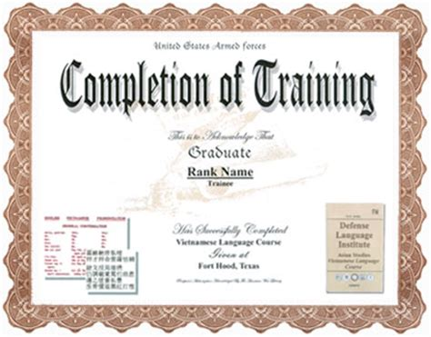 28 army certificate of completion template army
