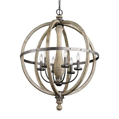 Distressed Wood Chandelier Shop Kichler Evan 28 5 In 6 Light Distressed Antique Gray