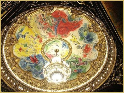 Chagall Ceiling by Wide View Of Chagall Fresco Ceiling In Main Hall Of Opera