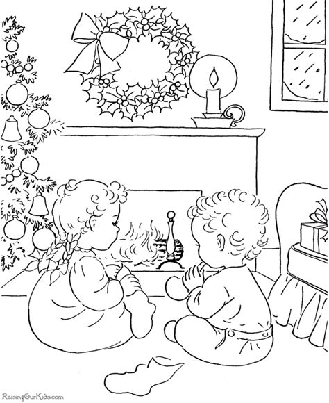 christmas morning printable coloring pages