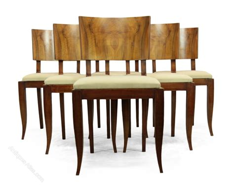 Deco Dining Room Chairs Deco Walnut Dining Chairs C1930 Antiques Atlas
