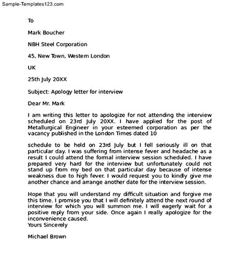 Apology Letter To For Missing Test Apology Letter For Missing Sle Sle Templates