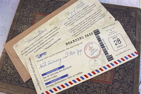 Wedding Invitation New Zealand by Vintage Air Mail Boarding Pass Wedding Invitation New