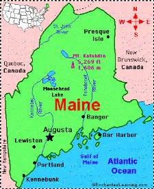 Map Of The State Of Maine by Maine Facts Map And State Symbols Enchantedlearning Com