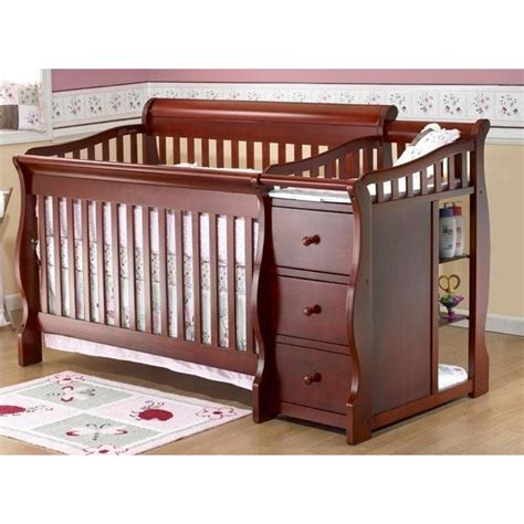 Cribs With Mattress Included Sorelle Tuscany 4 In 1 Convertible Crib Combo In Cherry