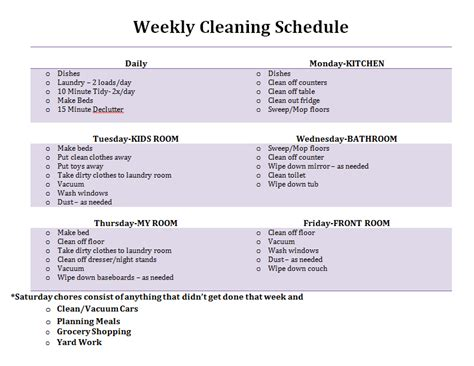 clean room daily schedule monthly cleaning schedule