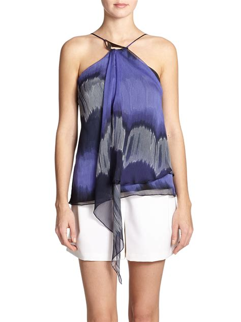 draped halter top halston printed draped halter top in blue lyst
