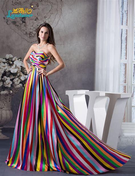 Long Prom Dresses  Elegant Sweetheart Rainbow Printed