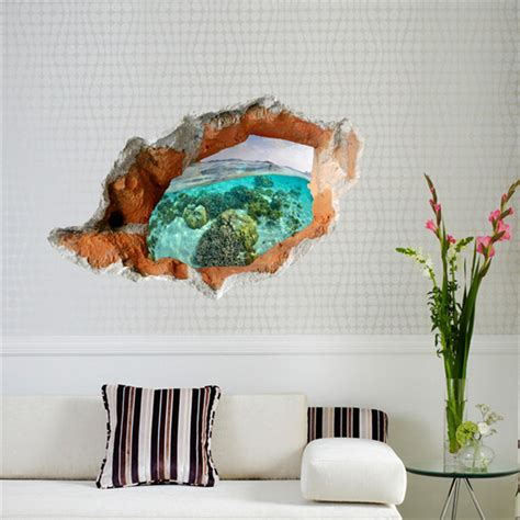 removable wall stickers 3d underwater world wall decals removable scenery wall