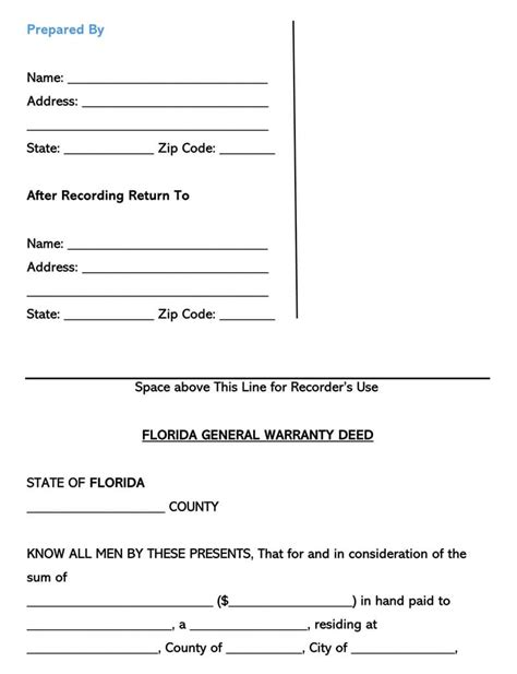 general warranty deed forms templates  state