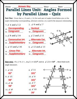 lines and transversals worksheet answers parallel lines angles formed by parallel lines and transversals quiz