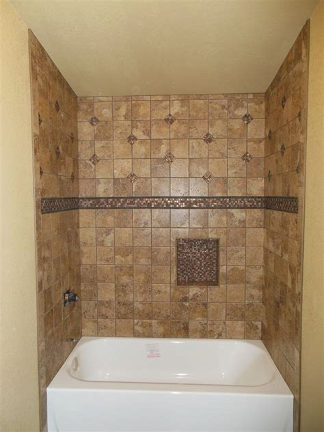 bathtub with tile tub surround with single built in shower shelf marazzi