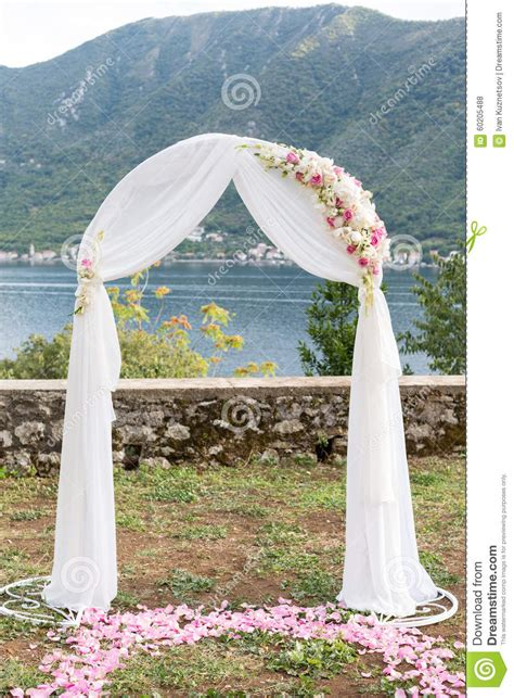 Wedding Arch Pictures by Wedding Arch Decorated With Flowers Outdoors Stock Photo