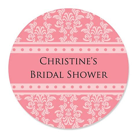 Shower Stickers by Damask Salmon Pink Personalized Bridal Shower Sticker