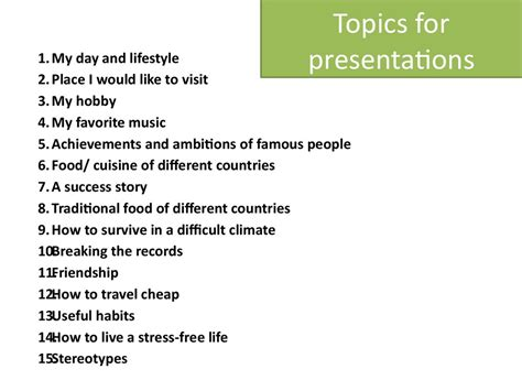 Different Topics For Essays by Topics For Essays Presentation