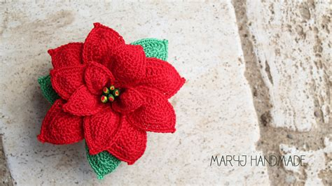 pattern crochet poinsettia maryj handmade stella di natale all uncinetto how to