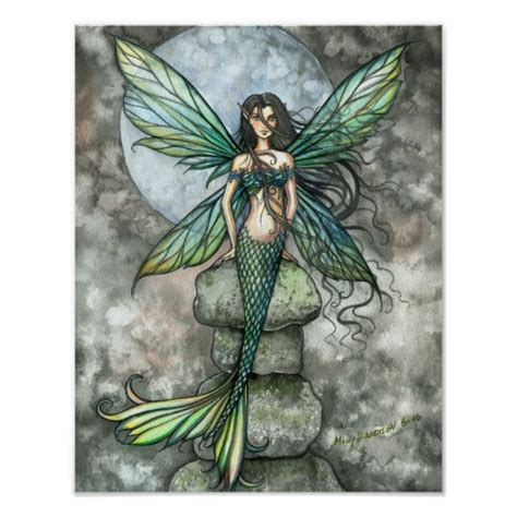 mermaid fairy from sea to sky mermaid fairy art poster print zazzle