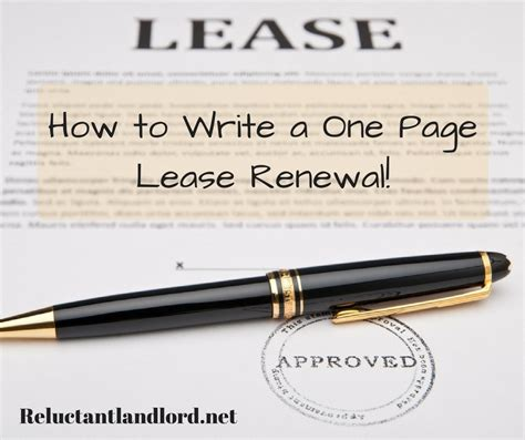 Lease Renewal Letter Legally Binding how to write a one page lease renewal the reluctant