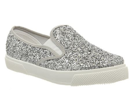 womens office kicker slip on shoes silver glitter flats ebay