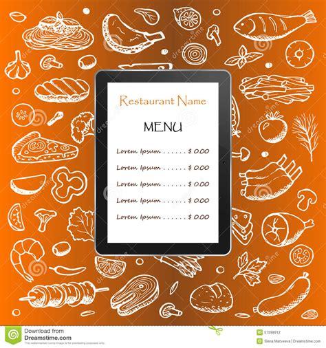 doodle bar food menu pizza menu with doodle elements and tablet