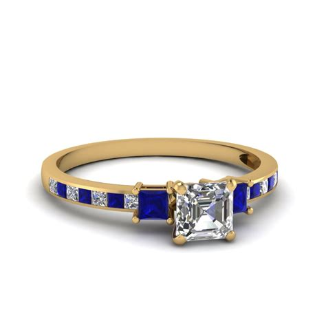 Blue Sapphire 14 30 Ct delicate 3 asscher engagement ring with