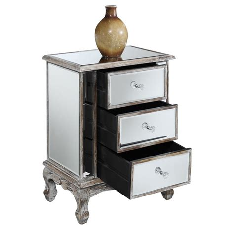 mirrored end tables with drawers 3 drawer mirrored end table 413359ww