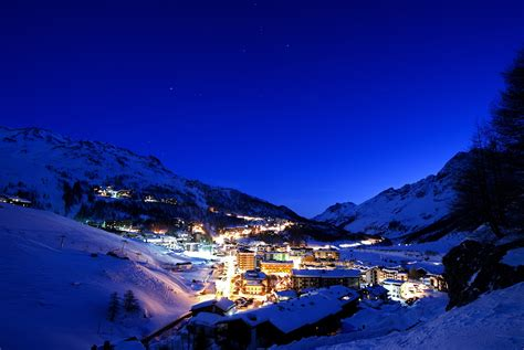 night lights of the ski resort of cervinia italy