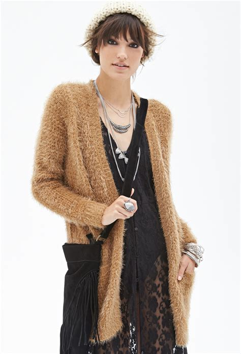 knit cardigan forever 21 forever 21 fuzzy knit cardigan in brown taupe lyst