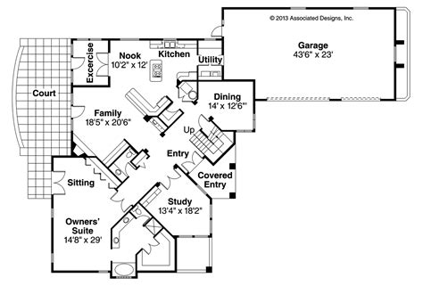 floor plan house mediterranean house plans pasadena 11 140 associated designs