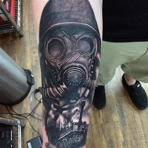 gas mask tattoo 100 tattoos for memorial war solider designs