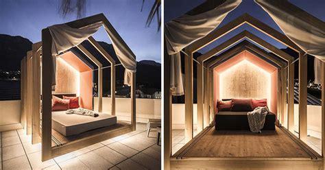 rooftop bedroom   hotel lets  lie  comfort  stargazing contemporist