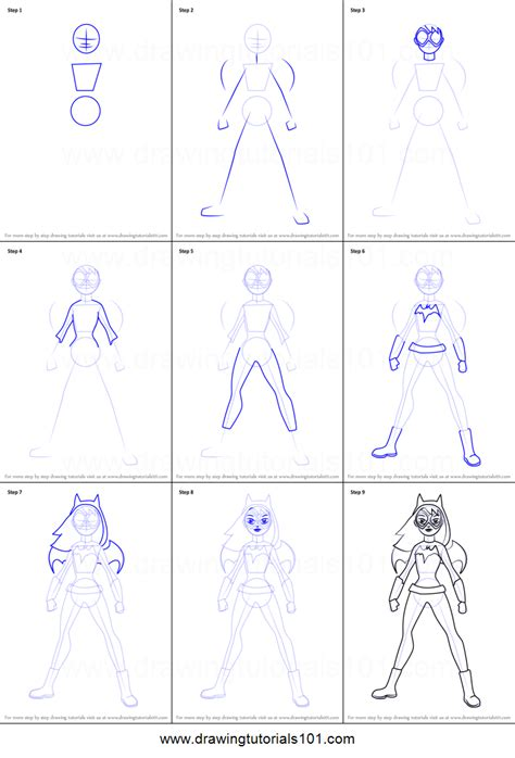 printable heroes tutorial how to draw batgirl standing from dc super hero girls