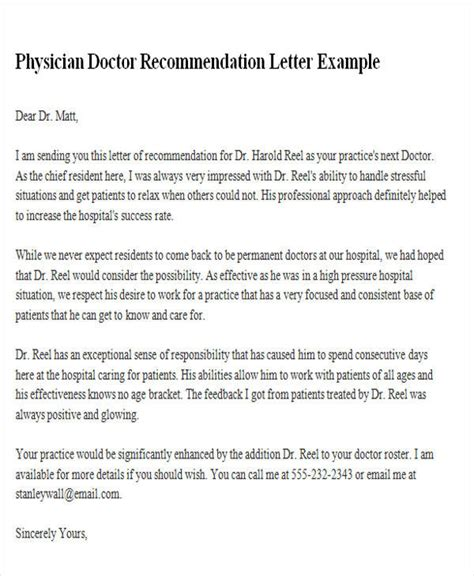 bunch ideas of recommendation letter for medical doctors samples