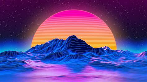 wallpaper retro sun mountains neon landscape