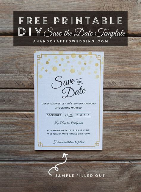 Free Modern Gold Diy Save The Date Template Download This Diy Wedding Save The Date And Then Free The Invitations Template