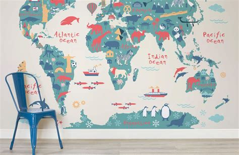 Safari Map Mural Wallpaper Muralswallpaper - 10 world map designs to decorate a plain wall contemporist